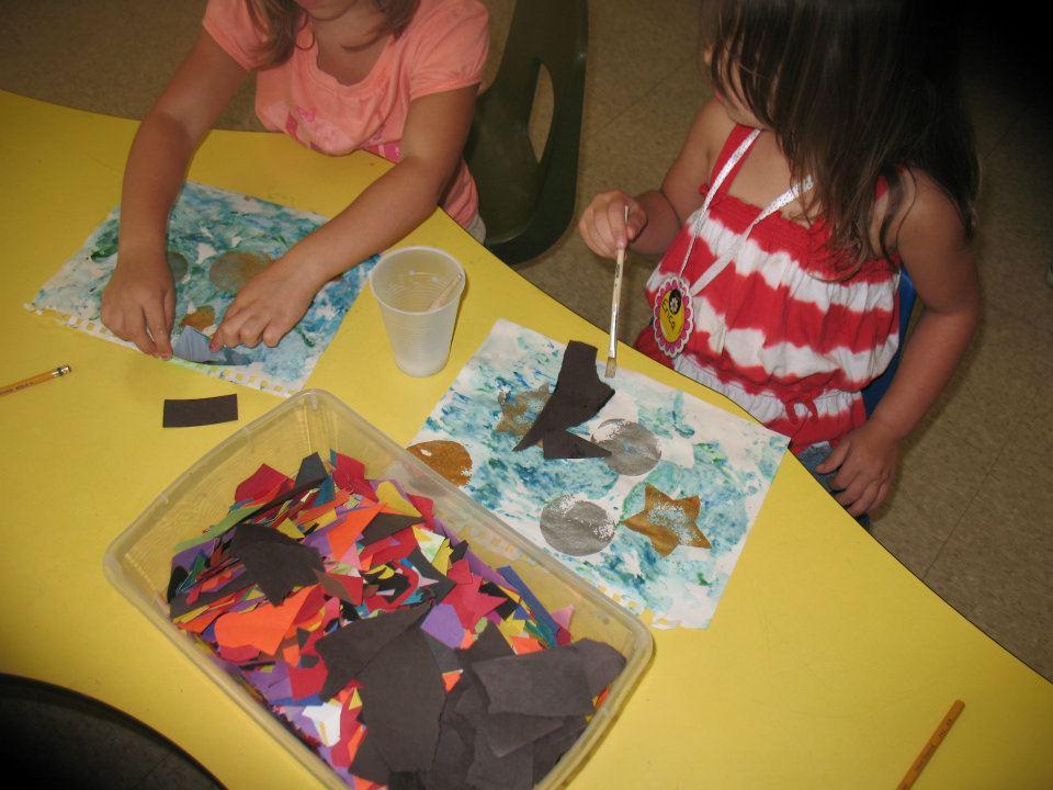 preschool girls doing art in class at a Preschool & Daycare Serving Fort Erie, CO, Kansas City, KS